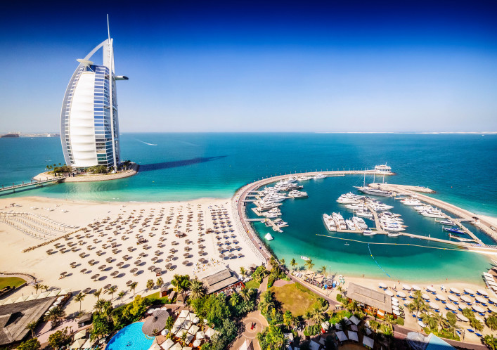 Burj Al Arab Hotel and a marina, Dubai