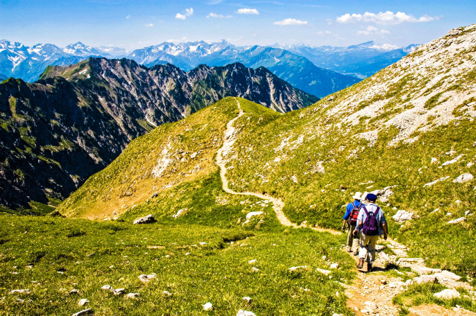 Hiuking in the alps in the region of The Allgäu, southern Germany