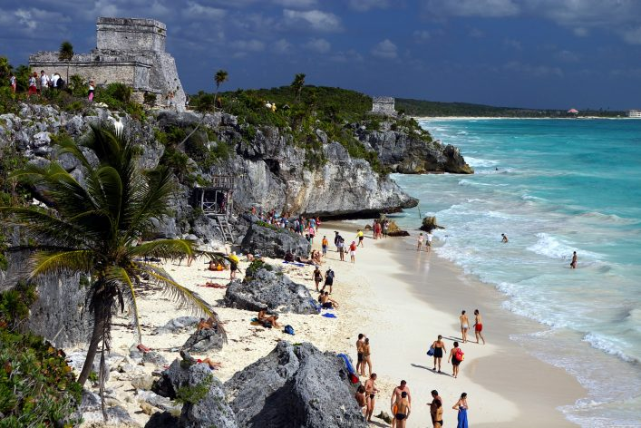 Tulum, Strand, Bucht, Maya, Tempel