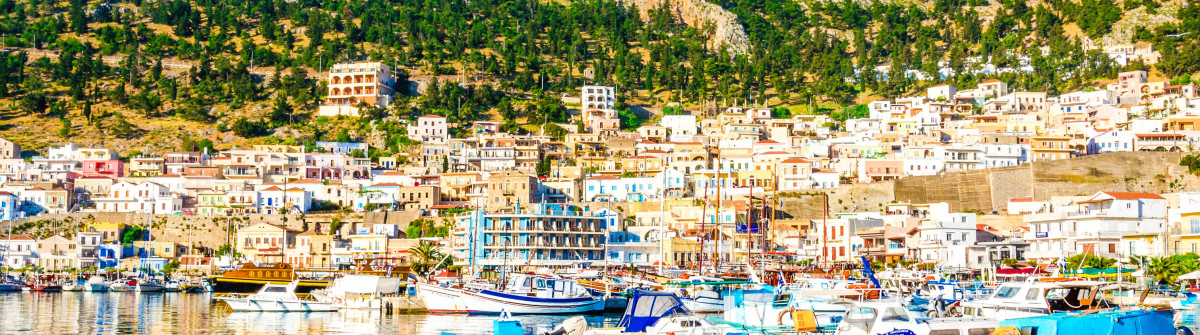 Colorful boats in port on Greek Island, Greece
