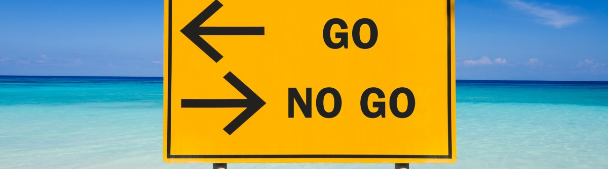 GO or NO GO sign on sea background shutterstock_237130840