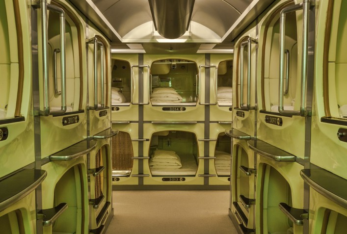 Capsule hotel accommodation, Osaka, Japan.