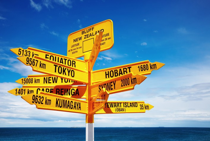 Signpost in the Stirling Point Bluff New Zealand shutterstock_29180842