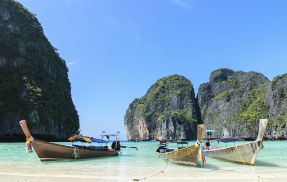 Thai Traditional longtail boat in the Maya beach,Krabi Thailand