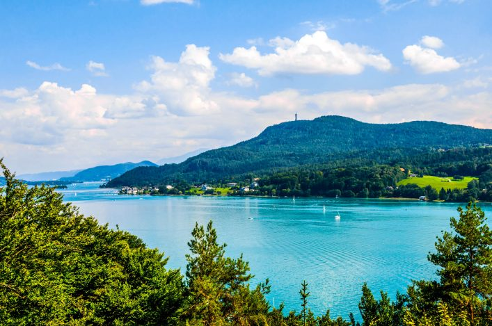 Woerthersee lake in Carinthia, Austria