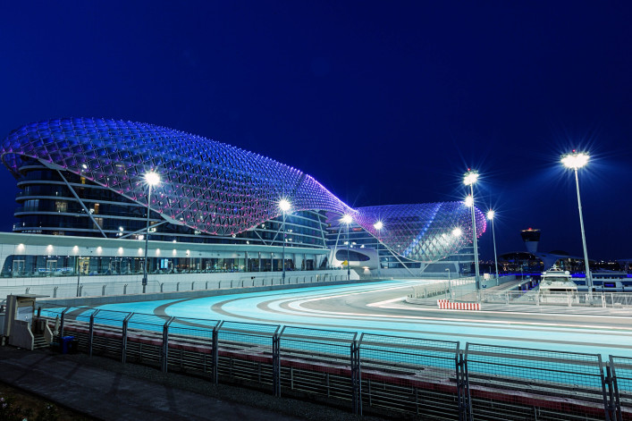 Yas Viceroy hotel at night