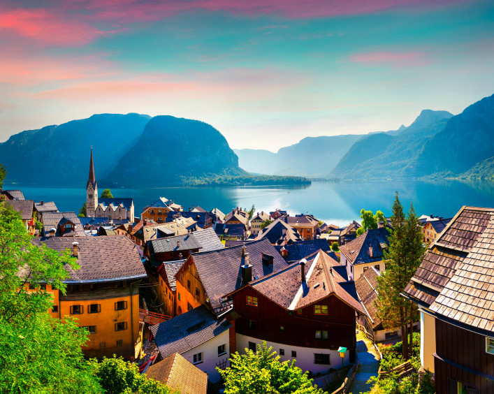 Colorful summer morning in the Hallstatt village in the Austrian