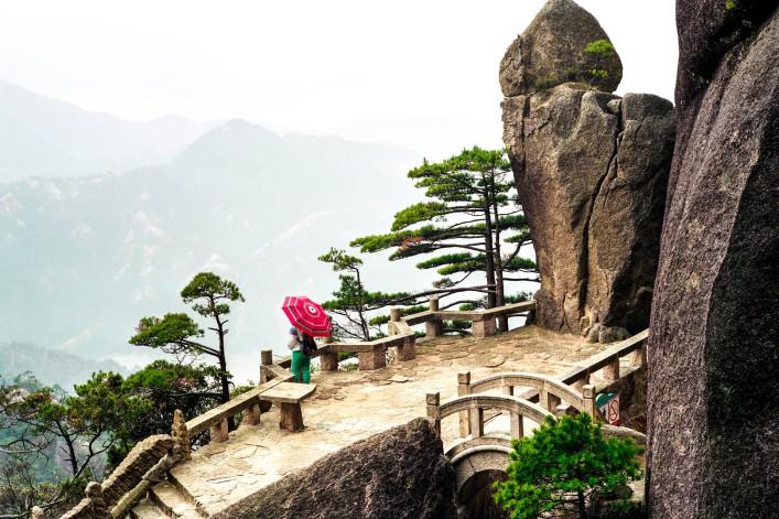 Huashan Pfad Gipfel Nebel Tempel