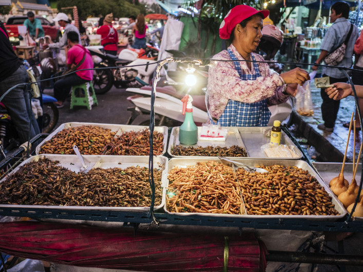 Fried insects for sale at Chatuchak market Bangkok