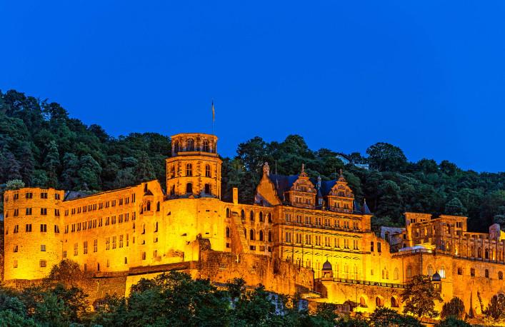 Heidelberg, Germany – July 16, 2015: Illuminated Heidelberg Castle at Night