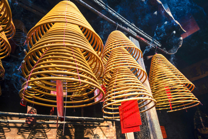 incense coils burning in a-ma temple in macao china