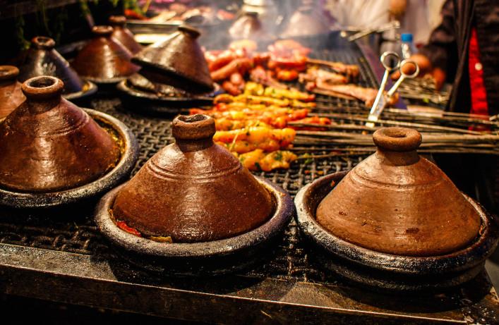 Moroccan tajines,classic dish at Marrakesh food stall iStock_000044621618_Medium-2