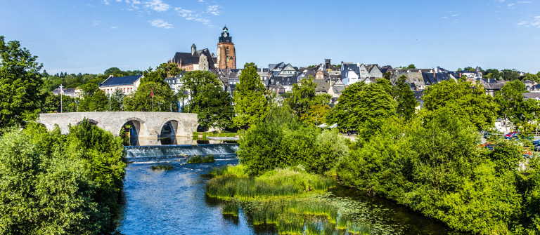 old Lahn bridge and view to famous Wetzlar dom Germany shutterstock_292541588-2