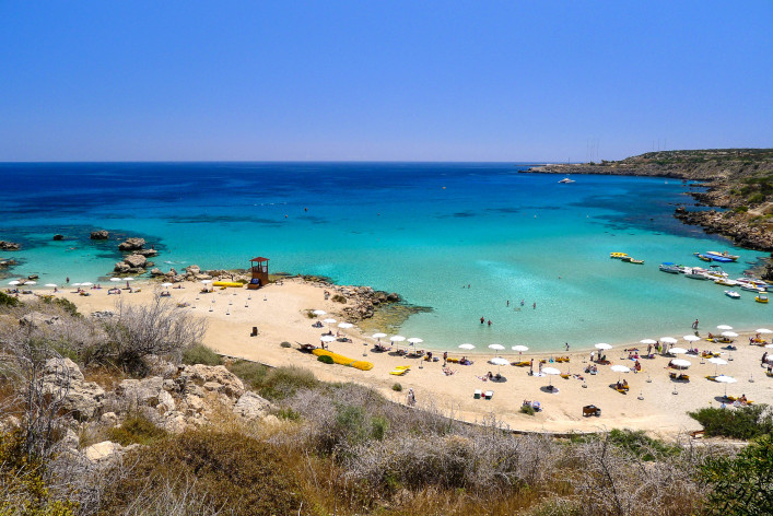Panorama of Konnos bay beach on Cyprus island shutterstock_78280711-2