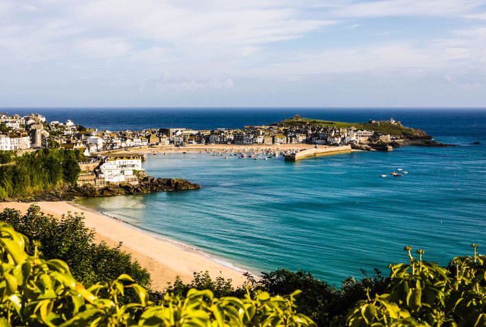 Porthminster beach and St Ives on the coast of Cornwall iStock_000056801862_Large-2