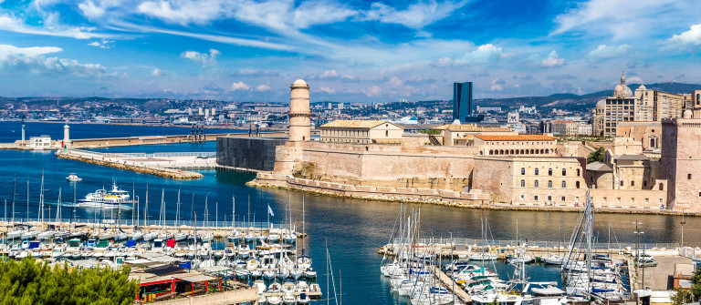 Saint Jean Castle and Cathedral de la Major and the Vieux port in Marseille, France shutterstock_369082556-2