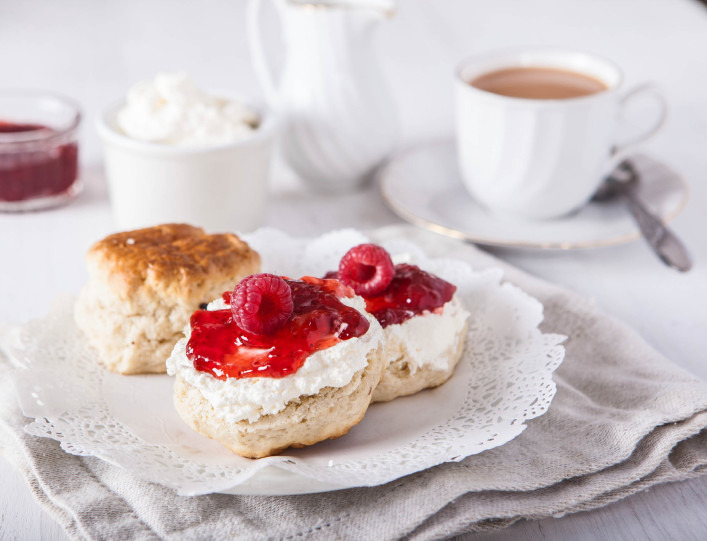 Scones with clotted cream and strawberry jam iStock_000057797638_Large-2