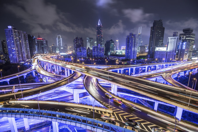 Shanghai Highway at Night China iStock_000050862614_Large