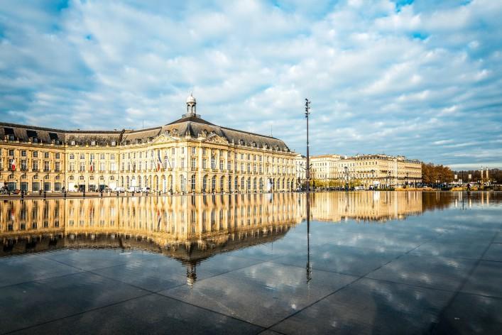 Street view of Place De La Bourse in Bordeaux city, France Europe shutterstock_375326998-2