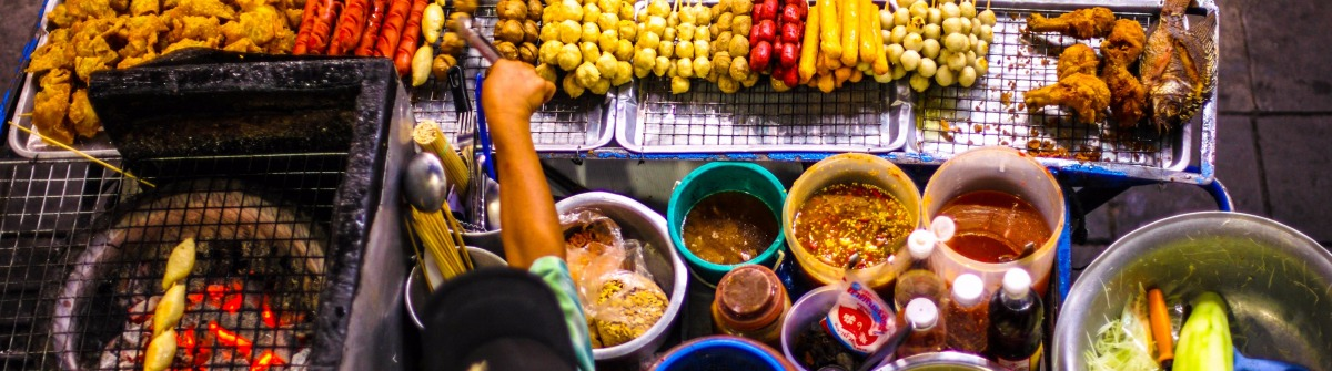 Top view of a Thai street food vendor in Bangkok, Thailand shutterstock_342199925-2