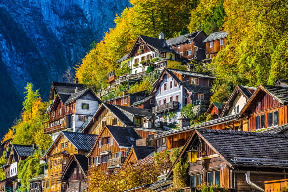 Traditional wooden houses in Hallstatt, Salzkammergut, Austria