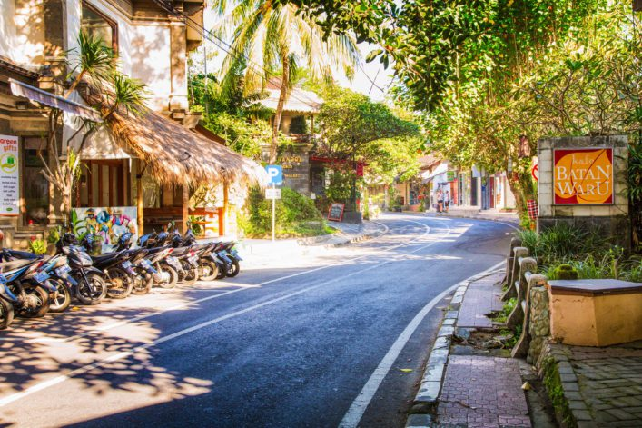 Winding road downtown Ubud Bali Indonesia