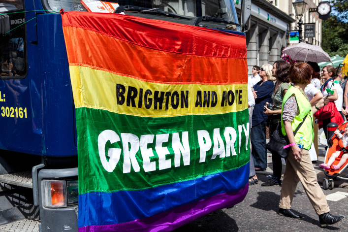Brighton and Hove Green Party take part in the Pride Parade at Brighton Pride Festival shutterstock_97599293 EDITORIAL ONLY Teerinvata-2