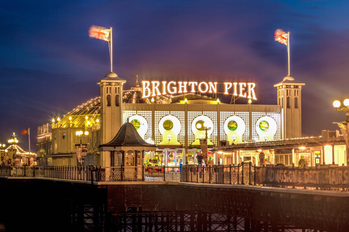 Brighton Pier at Night, Sussex, England, UK shutterstock_232198402-2