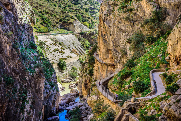 Caminito del Ray walking trail and via ferrata through the canyon Spain shutterstock_348056282-2