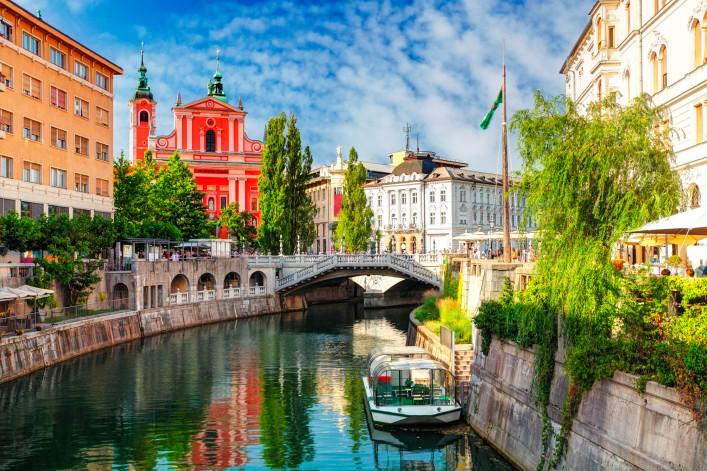 Ljubljana – Slovenia (Church and river Ljubljanica)