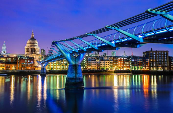 Millennium Bridge and Saint Paul Cathedral, London, UK