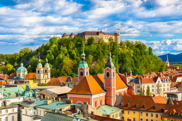 Panorama of the Slovenian capital Ljubljana at sunset shutterstock_187469135-2