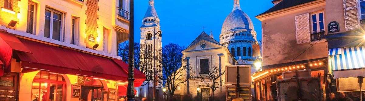 Sehenswürdigkeiten in Paris Bistro Café beleuchtet nachts