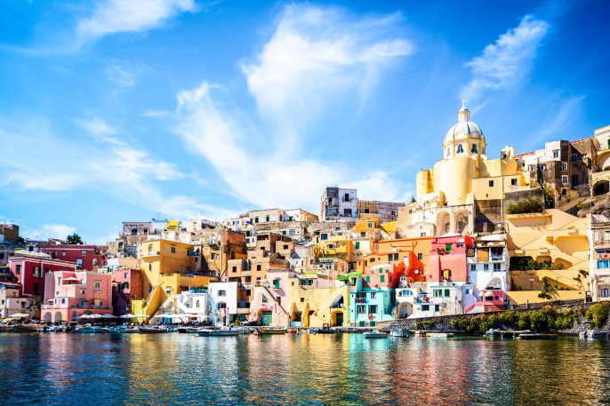 Procida, colorful island in the Mediterranean Sea Coast, Naples, Italy iStock_000058345272_Large-2