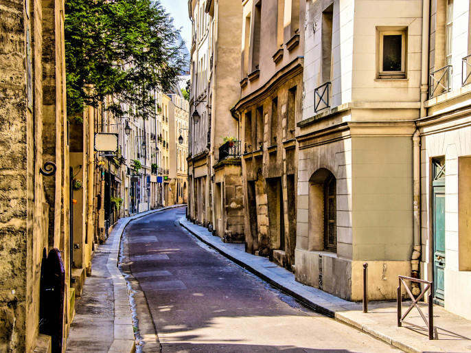 Beautiful quaint street in the Latin Quarter of Paris, France