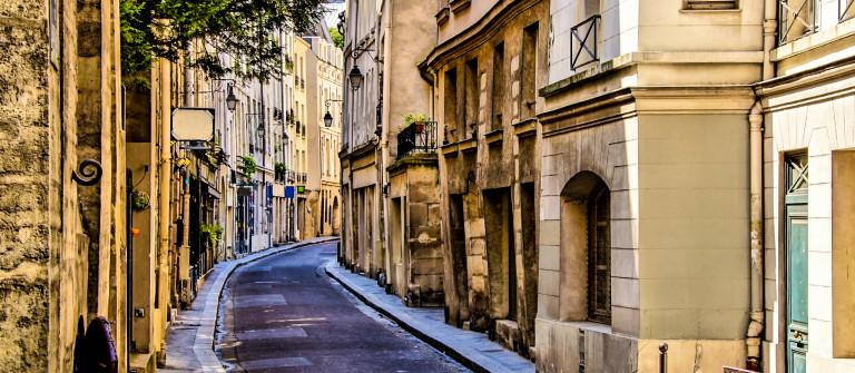 Beautiful quaint street in the Latin Quarter of Paris, France