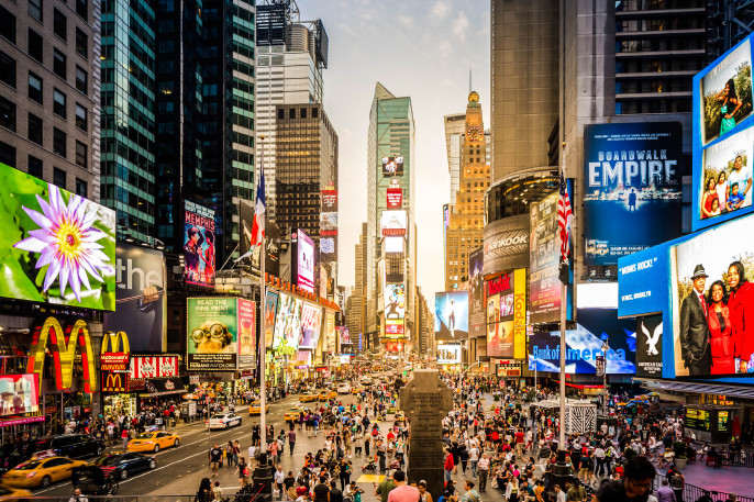 Sunset At Times Square In New York City, USA iStock_000062864688_Large-2