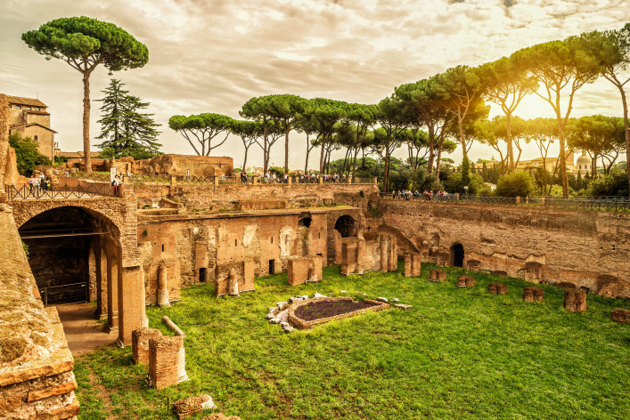 The ruins of the stadium of Domitian on the Palatine Hill at sunset in Rome, Italy shutterstock_281865080-2