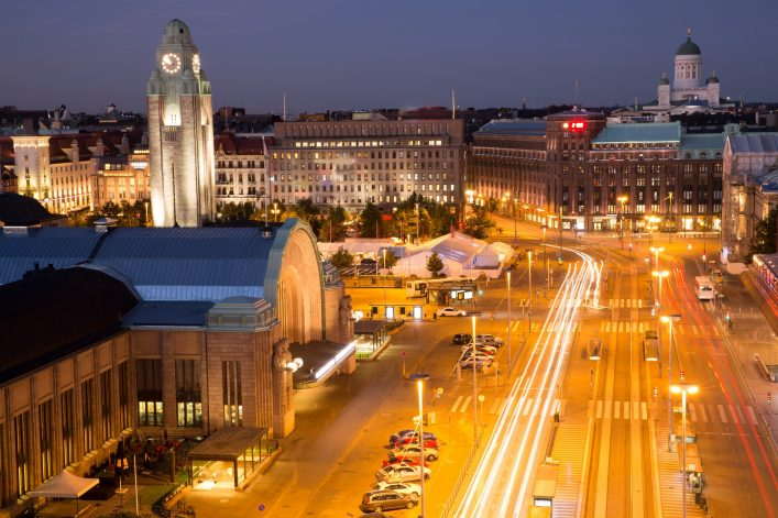 Helsinki Center Aerial View at Night. High Angle View of Helsinki Downtown on a Summer Night. shutterstock_553843372