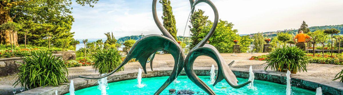 Springbrunnen auf der Insel Mainau im Bodensee.