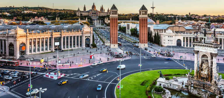 Aerial View on Placa Espanya and Montjuic Hill with National Art Museum of Catalonia, Barcelona, Spain shutterstock_238749871-2