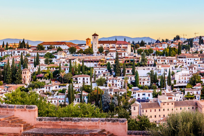 Alhambra Granada Cityscape Churches Andalusia Spain