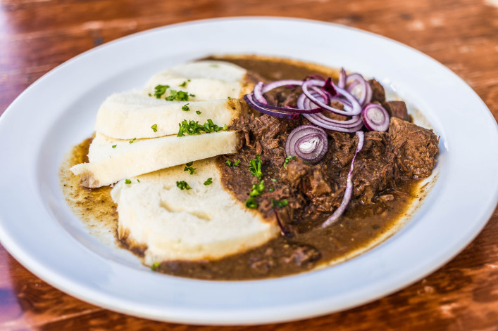 Beef Goulash and Bread Dumplings serving