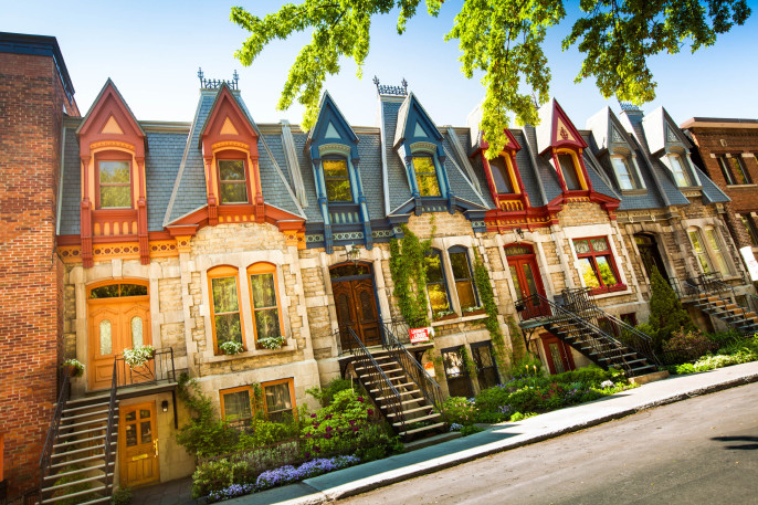 Colorful row of houses in Montreal