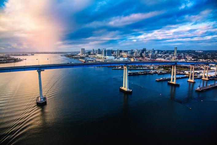 Downtown San Diego Skyline Beyond the Coronado Bridge iStock_000091338585_Large-2