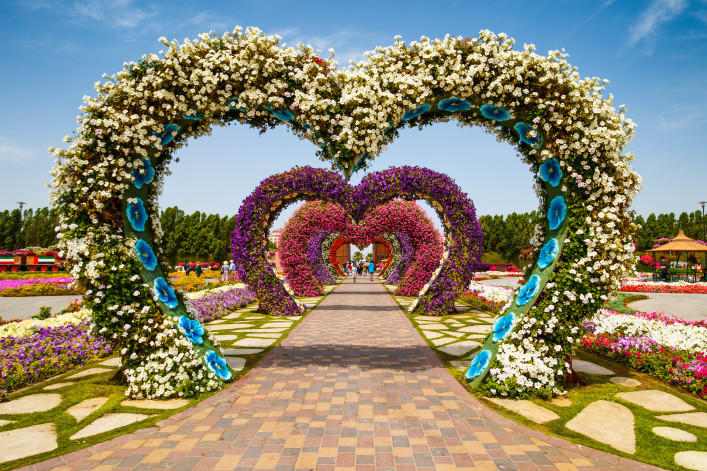 Hearts way in Dubai Miracle Garden shutterstock_269405375 EDITORIAL ONLY Rebius-2