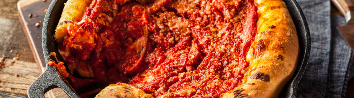Homemade Skillet Deep Dish Chicago Pizza with Mozzarella shutterstock_396104716-2
