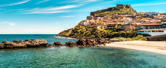 beach sky sea coast sardinia