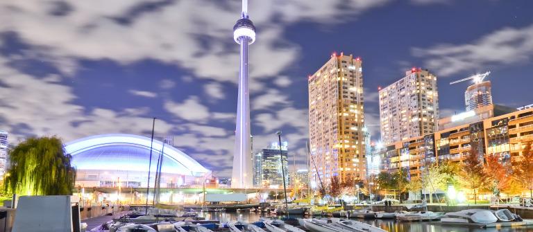 Toronto skyline at night in Ontario_shutterstock_311349374