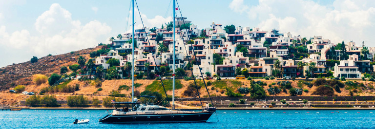 Yacht sailing in Aegean sea